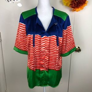 CREMIEUX COLORFUL STRIPED SHORT SLEEVE TOP SZ LG